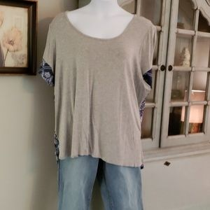 Lane Bryant Grey w/blue geometric pattern top